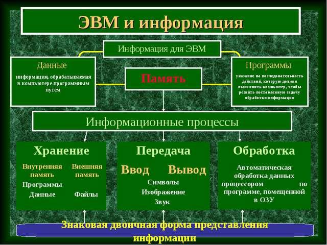 ЭВМ и информация Информационные процессы Знаковая двоичная форма представлени...