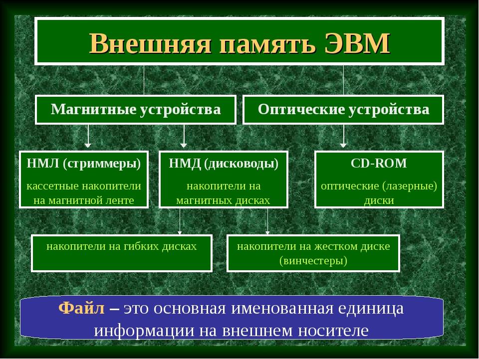 Внешняя память ЭВМ Магнитные устройства Файл – это основная именованная едини...