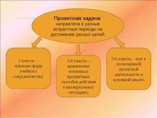 Проектная задача направлена в разные возрастные периоды на достижение разных