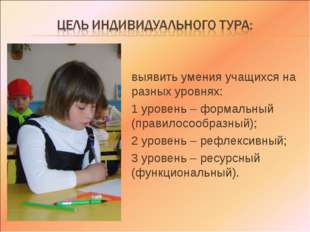 выявить умения учащихся на разных уровнях: 1 уровень – формальный (правилосоо