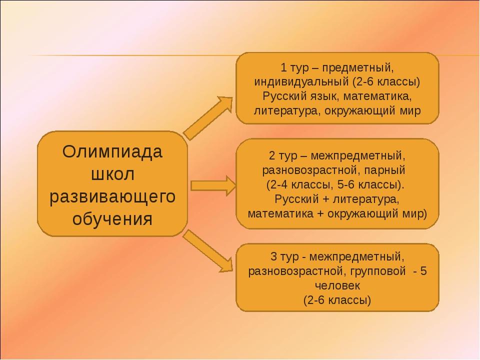Олимпиада школ развивающего обучения 1 тур – предметный, индивидуальный (2-6...