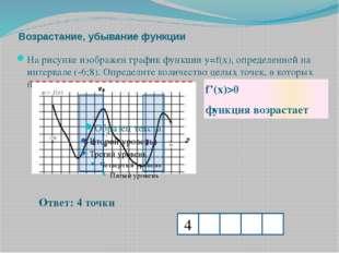 Возрастание, убывание функции f'(x)>0 функция возрастает Ответ: 4 точки На ри