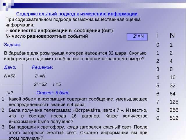 Содержательный подход к измерению информации При содержательном подходе возмо...