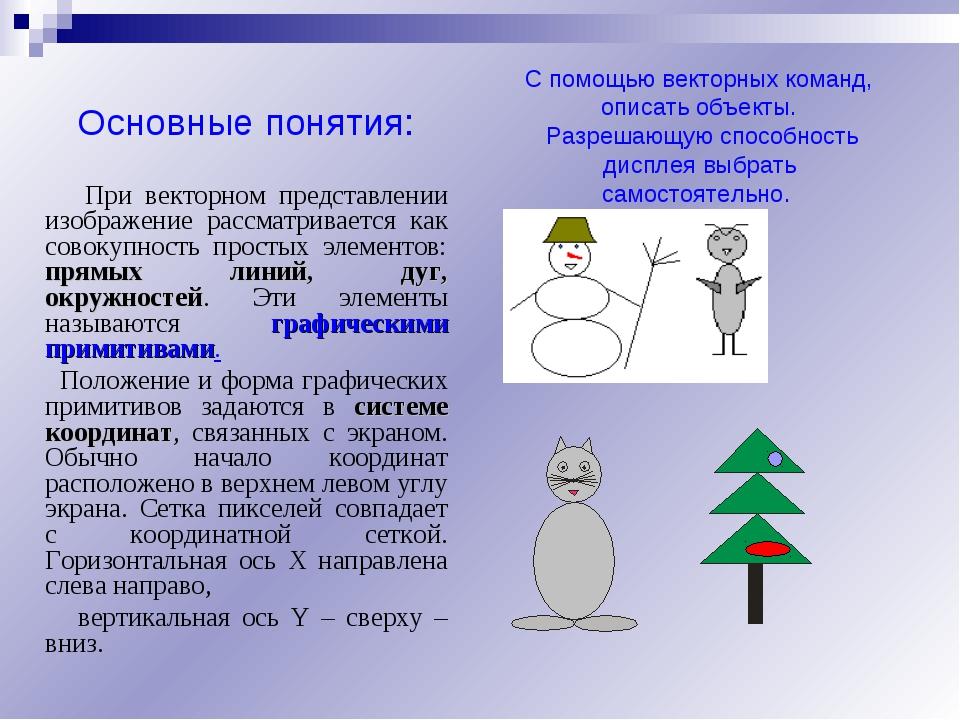 Основные понятия: При векторном представлении изображение рассматривается как...