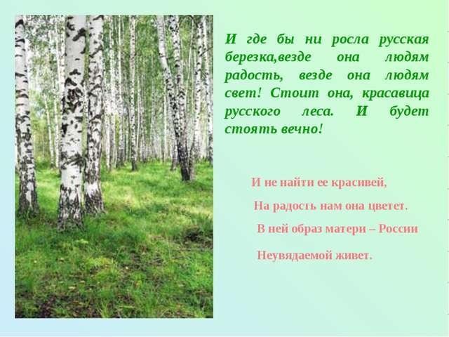 И где бы ни росла русская березка,везде она людям радость, везде она людям св...
