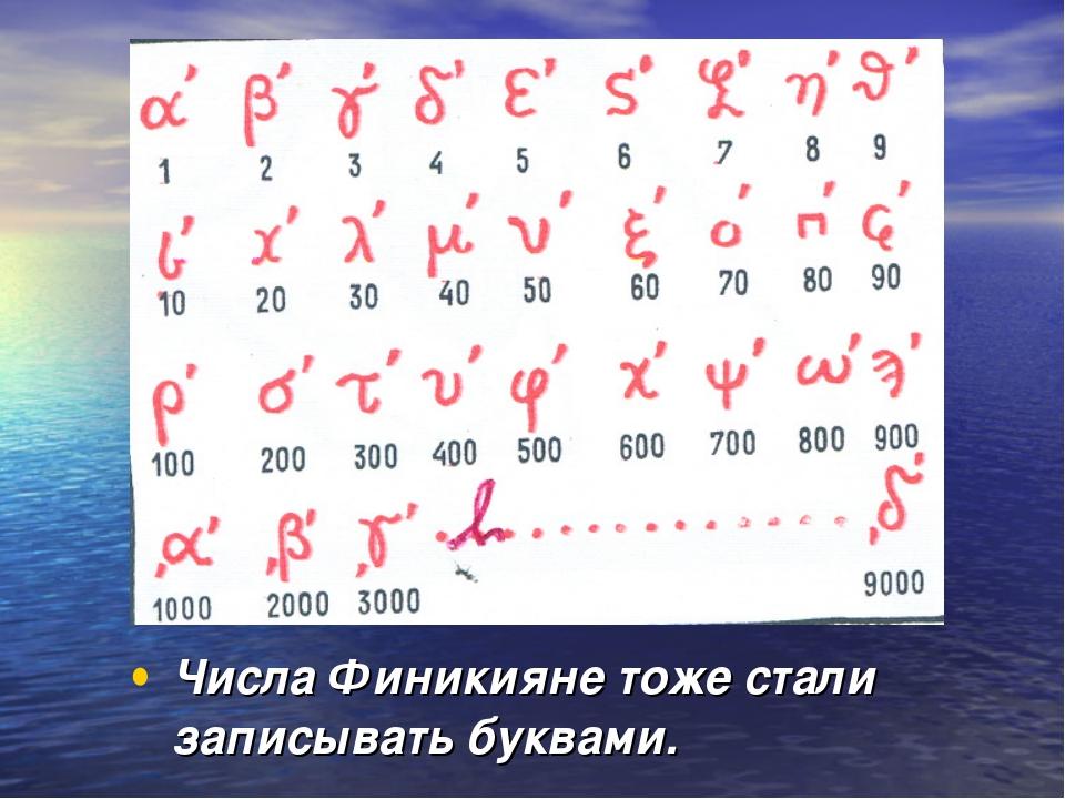 Числа Финикияне тоже стали записывать буквами.