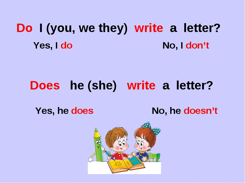Do I (you, we they) write a letter? Yes, I do No, I don't Does he (she) write...