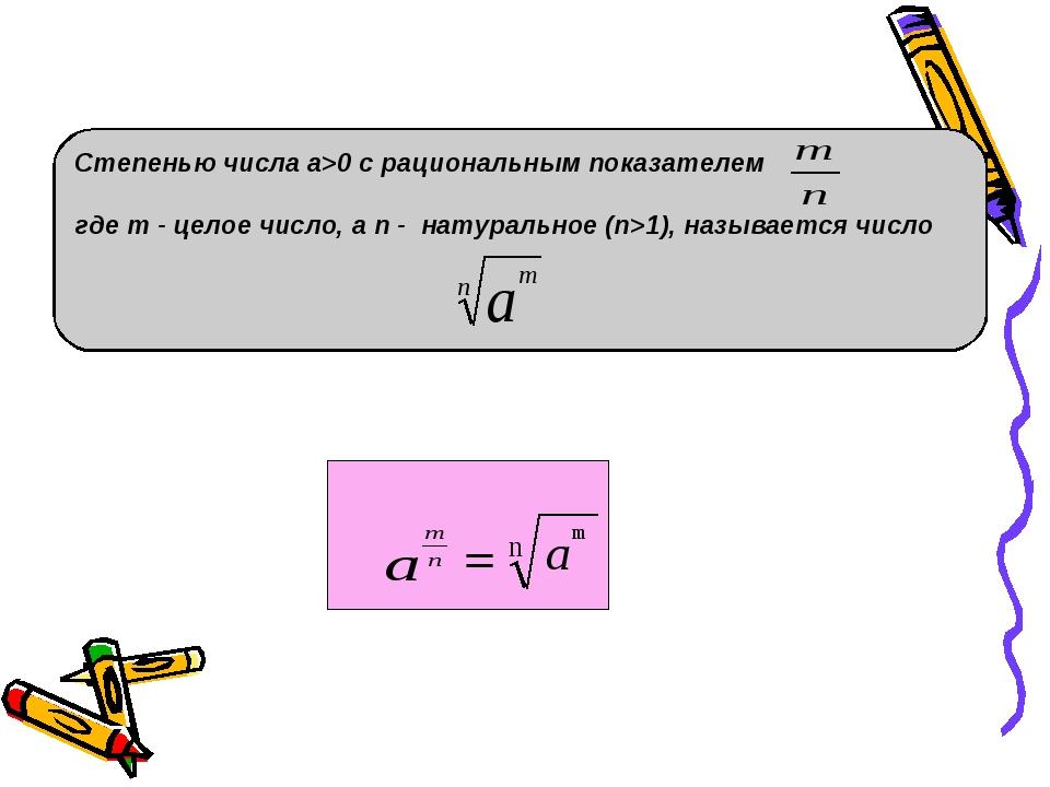 Степенью числа a>0 с рациональным показателем  где m - целое число, а n - на...