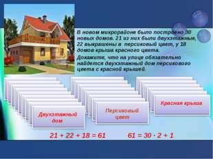 В новом микрорайоне было построено 30 новых домов. 21 из них были двухэтажные