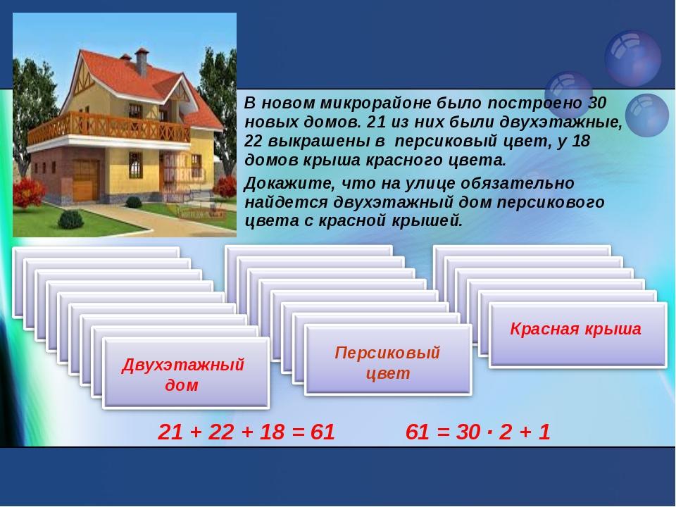 В новом микрорайоне было построено 30 новых домов. 21 из них были двухэтажные...