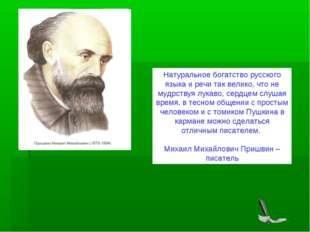 Натуральное богатство русского языка и речи так велико, что не мудрствуя лука