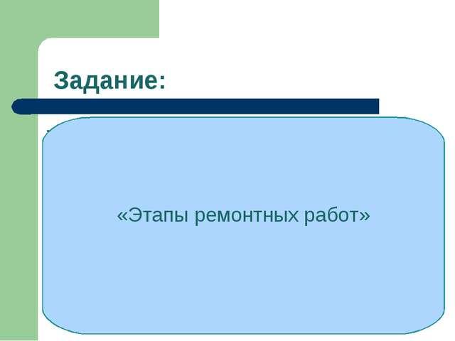 Задание: - Осмотр поверхностей, оценка их состояния - Составление плана (про...