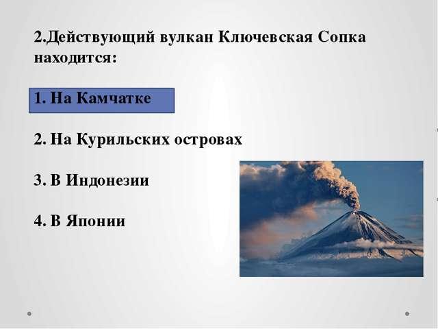 2.Действующий вулкан Ключевская Сопка находится: На Камчатке На Курильских о...