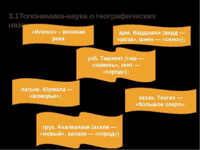 3.1Топонимика-наука о географических названиях «Илюнэ» – великая река арм. Ва...
