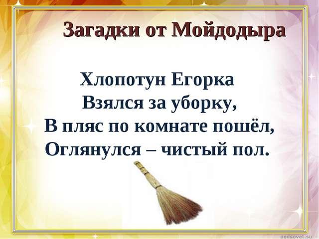 Загадки от Мойдодыра Хлопотун Егорка Взялся за уборку, В пляс по комнате пош...