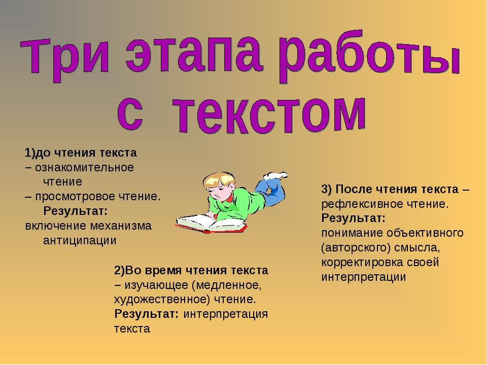 1)до чтения текста – ознакомительное чтение – просмотровое чтение. Результат:...