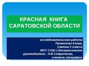 КРАСНАЯ КНИГА САРАТОВСКОЙ ОБЛАСТИ исследовательская работа Привалова Егора, у