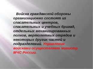 Войска гражданской обороны организационно состоят из спасательных центров, сп