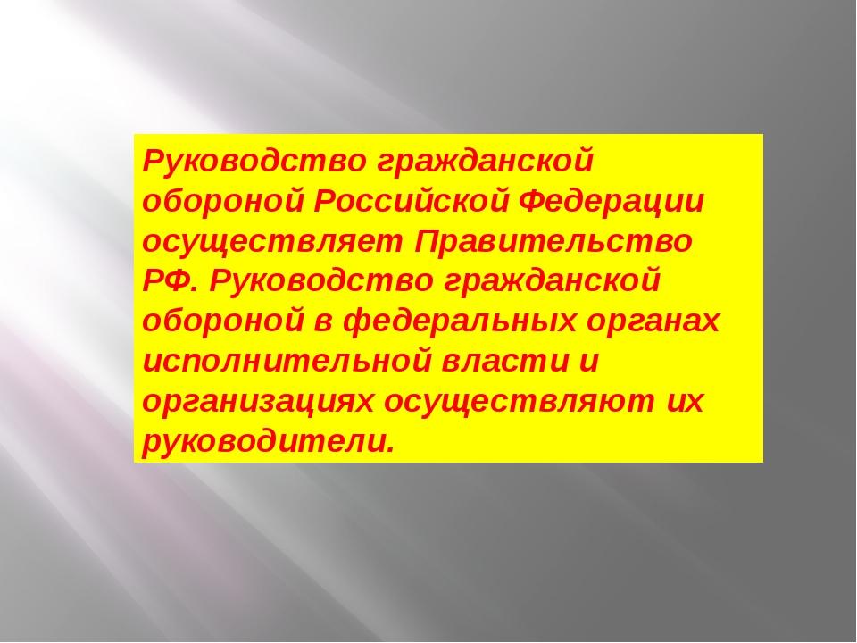 Руководство гражданской обороной Российской Федерации осуществляет Правительс...