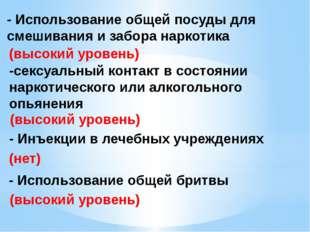 - Использование общей посуды для смешивания и забора наркотика (высокий урове