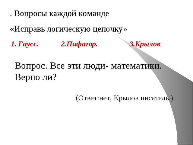 . Вопросы каждой команде «Исправь логическую цепочку» 1. Гаусс. 2.Пифагор. 3....