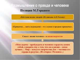Размышления о правде и человеке Позиция М.Горького