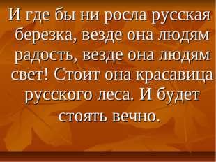 И где бы ни росла русская березка, везде она людям радость, везде она людям