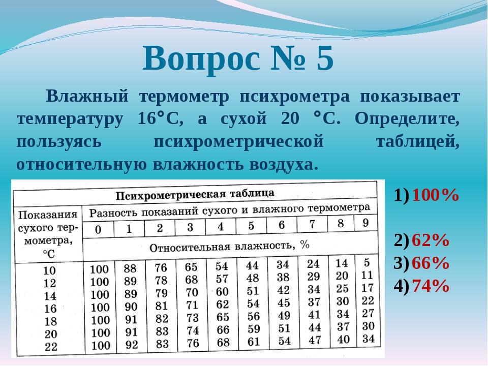 Вопрос № 5 Влажный термометр психрометра показывает температуру 16C, а сухой...