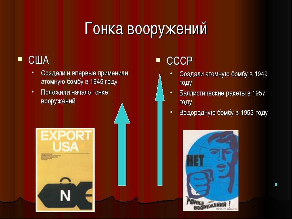 Гонка вооружений США Создали и впервые применили атомную бомбу в 1945 году По...