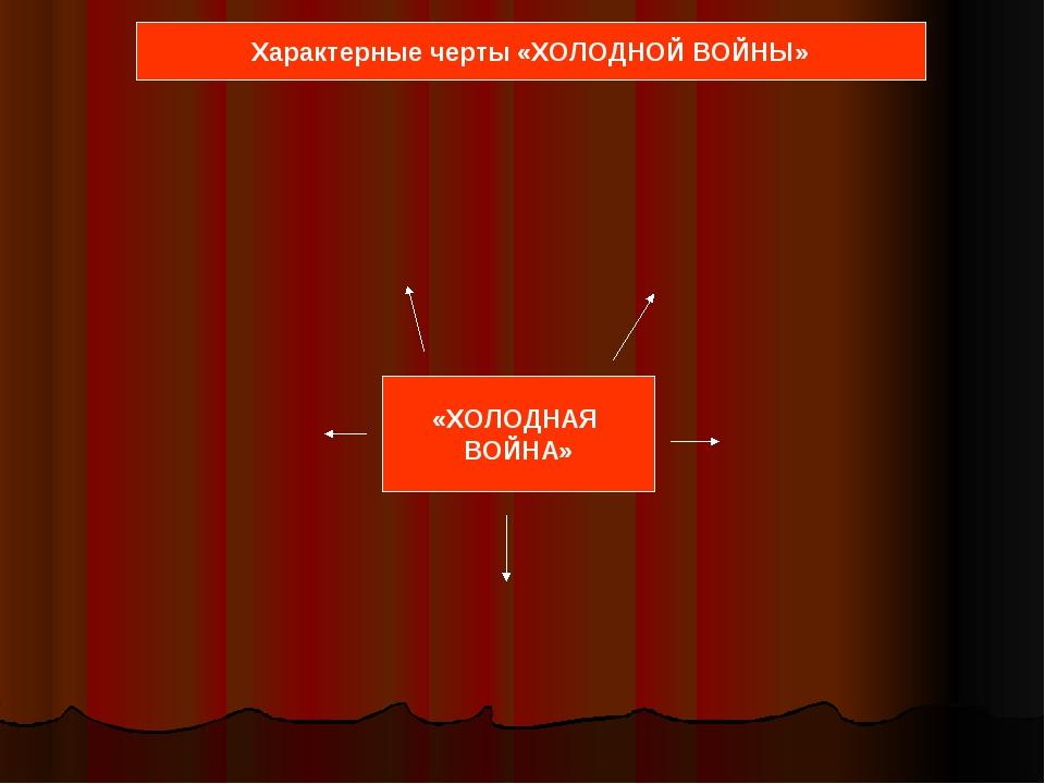 «ХОЛОДНАЯ ВОЙНА» Характерные черты «ХОЛОДНОЙ ВОЙНЫ»