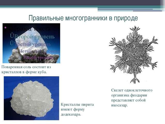 Правильные многогранники в природе Поваренная соль состоит из кристаллов в фо...