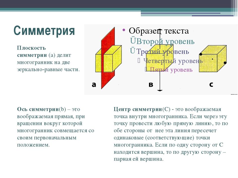 Симметрия Плоскость симметрии(a) делит многогранник на две зеркально-равные...