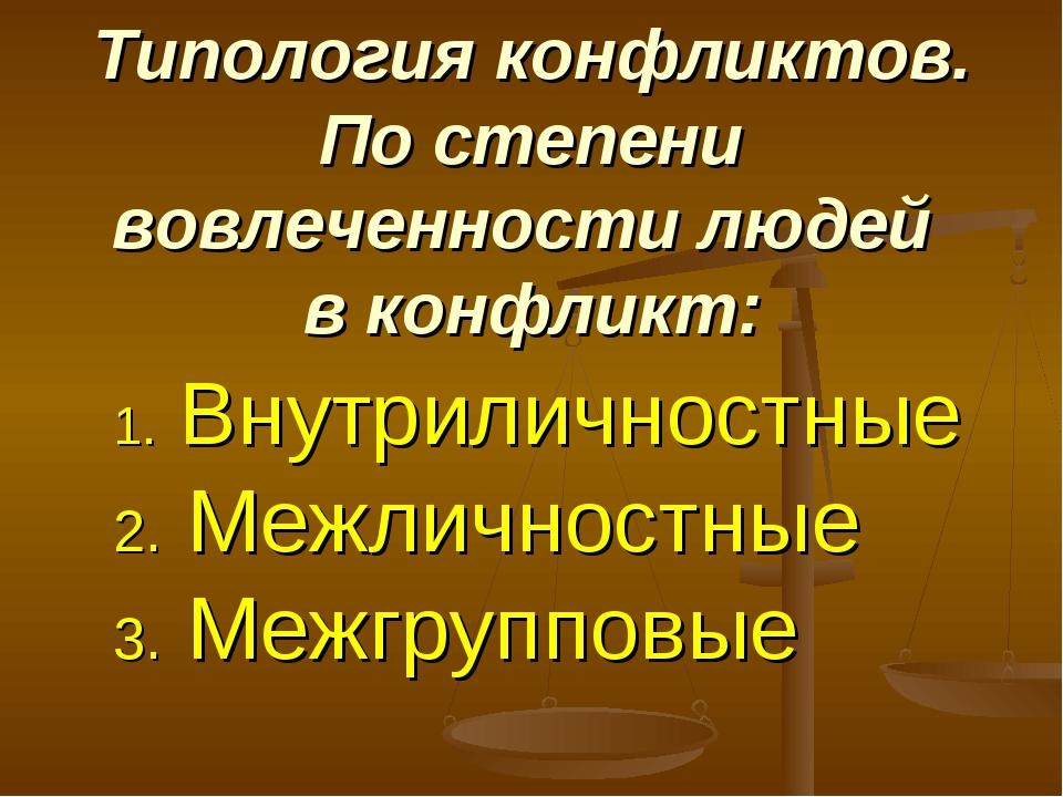 Типология конфликтов. По степени вовлеченности людей в конфликт: Внутриличнос...