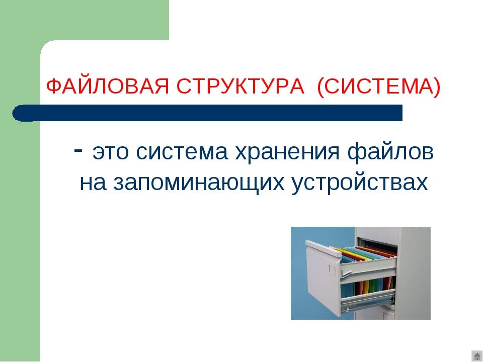 Файловая система - это система хранения файлов и организации каталогов