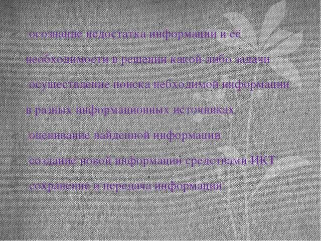 осознание недостатка информации и её необходимости в решении какой-либо зада...
