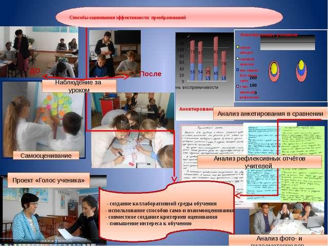 Способы оценивания эффективности преобразований Проект «Голос ученика» Наблюд...