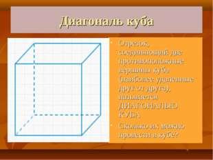 Диагональ куба Отрезок, соединяющий две противоположные вершины куба (наиболе