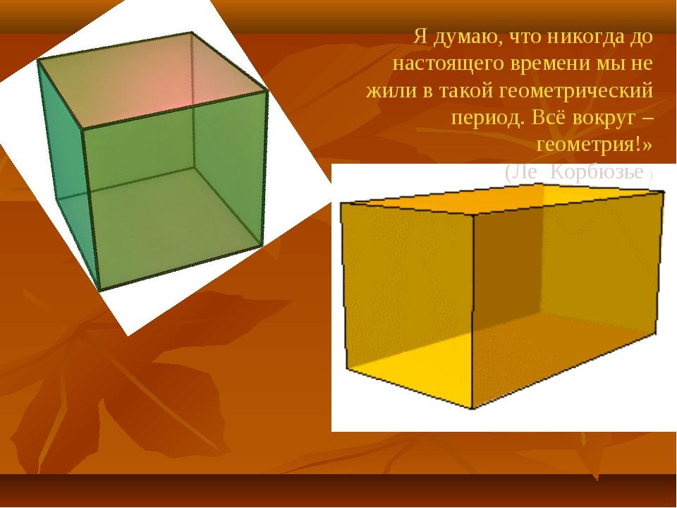 Я думаю, что никогда до настоящего времени мы не жили в такой геометрический...