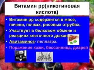 Витамин рр(никотиновая кислота) Витамин рр содержится в мясе, печени, почках,