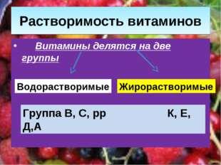 Растворимость витаминов Витамины делятся на две группы Водорастворимые Жирора