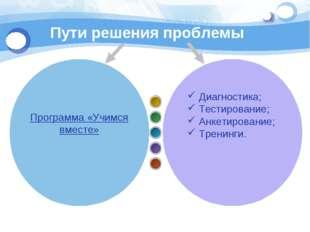 Пути решения проблемы Диагностика; Тестирование; Анкетирование; Тренинги. Про
