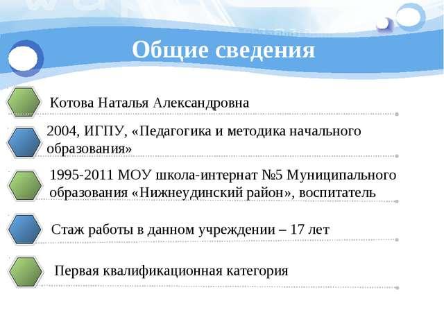 Общие сведения Котова Наталья Александровна 2004, ИГПУ, «Педагогика и методик...
