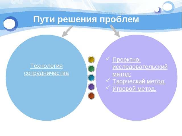 Пути решения проблем Проектно-исследовательский метод; Творческий метод; Игро...