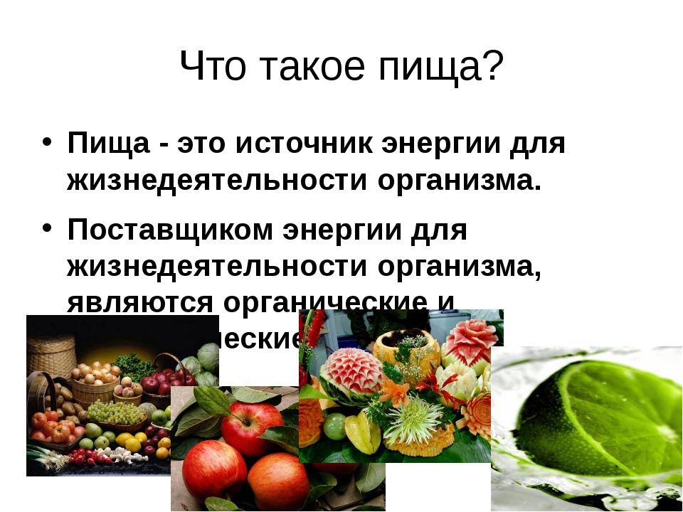 Что такое пища? Пища - это источник энергии для жизнедеятельности организма....