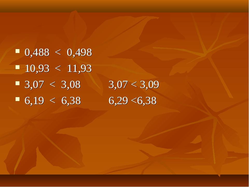 0,488 < 0,498 10,93 < 11,93 3,07 < 3,08 3,07 < 3,09 6,19 < 6,38 6,29