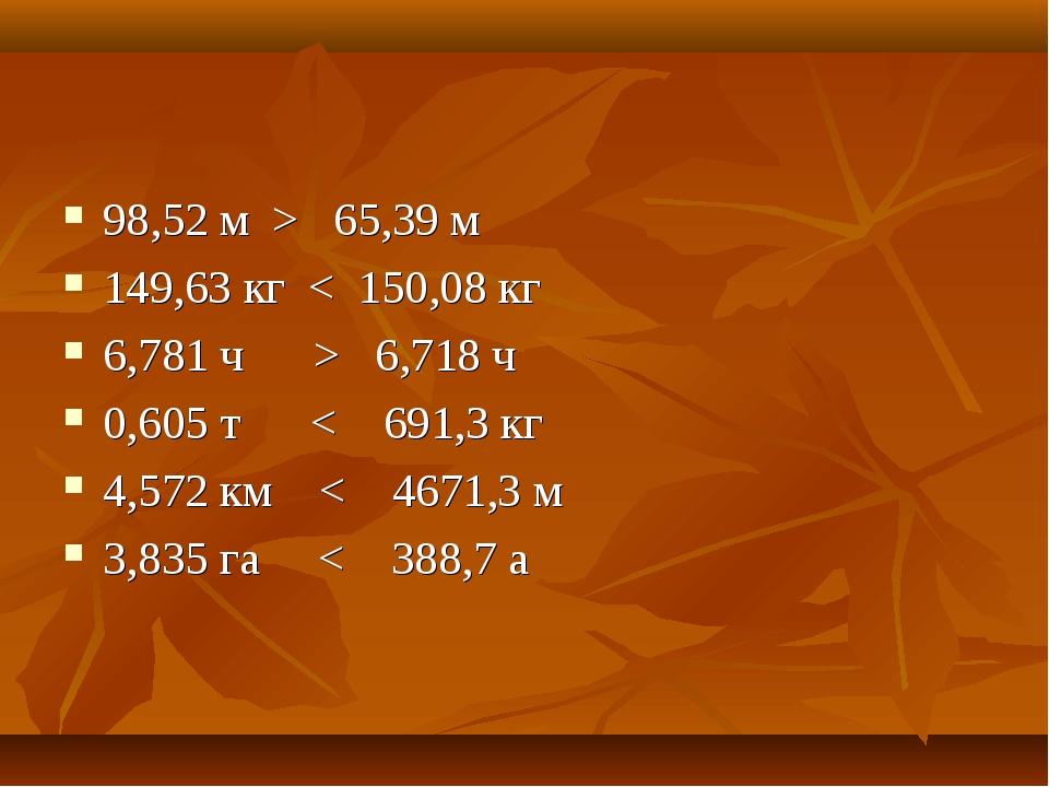 98,52 м > 65,39 м 149,63 кг < 150,08 кг 6,781 ч > 6,718 ч 0,605 т < 691,3 кг...
