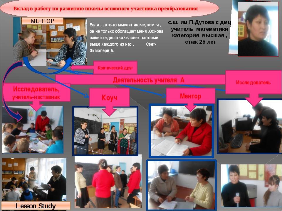 Вклад в работу по развитию школы основного участника преобразования с.ш. им П...