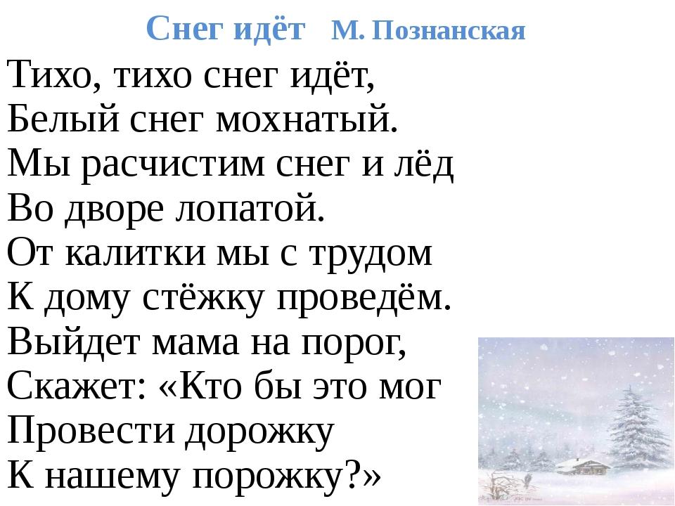 Снег идёт М. Познанская Тихо, тихо снег идёт, Белый снег мохнатый. Мы расчист...
