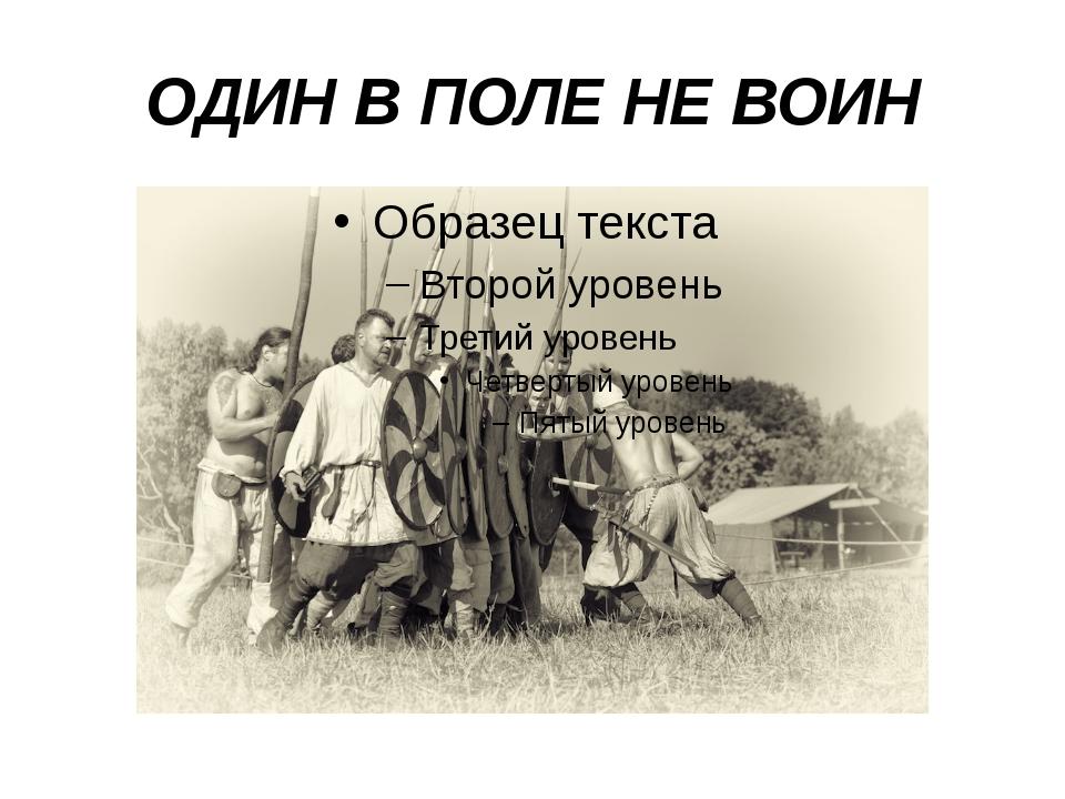 ОДИН В ПОЛЕ НЕ ВОИН