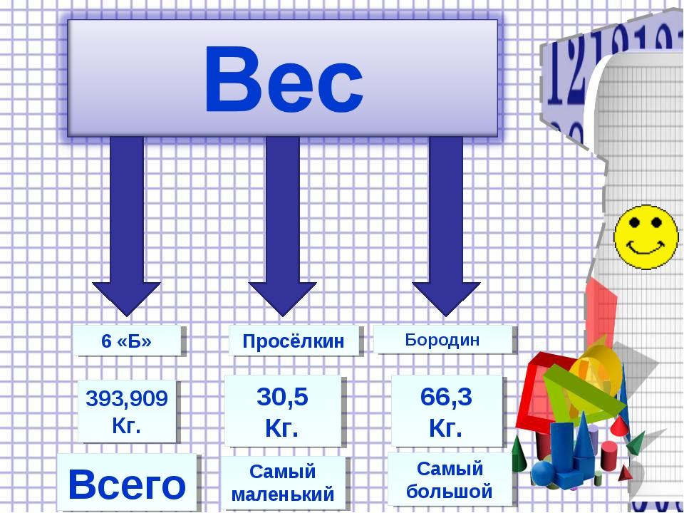 Всего Самый маленький Самый большой Бородин Просёлкин 6 «Б» 393,909 Кг. 30,5...
